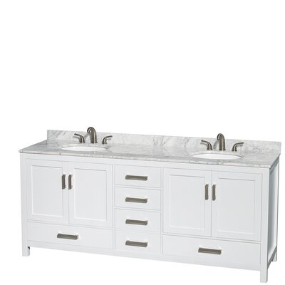 Sheffield 80 Double Bathroom Vanity Set Base Finish: White, Top Finish: White Carrera