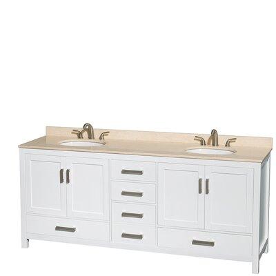 Sheffield 80 Double Bathroom Vanity Set Base Finish: White, Top Finish: Ivory