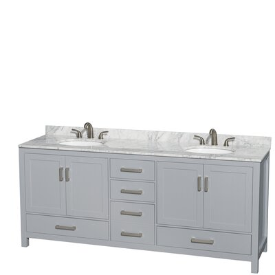Sheffield 80 Double Bathroom Vanity Set Base Finish: Gray, Top Finish: White Carrera