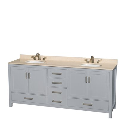 Sheffield 80 Double Bathroom Vanity Set Base Finish: Gray, Top Finish: Ivory