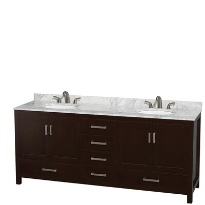 Sheffield 80 Double Bathroom Vanity Set Base Finish: Espresso, Top Finish: White Carrera
