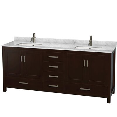 Sheffield 80 Double Bathroom Vanity Set Base Finish: Espresso, Top Finish: Ivory