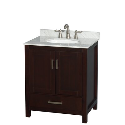 Sheffield 30 Single Bathroom Vanity Set Base Finish: Espresso, Top Finish: White Carrera