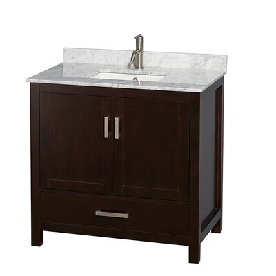 Sheffield 36 Single Bathroom Vanity Set Base Finish: Espresso, Top Finish: White Carrera