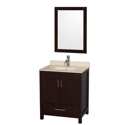 Sheffield 30 Single Espresso Bathroom Vanity Set with Mirror Top Finish: Ivory Marble, Faucet Mount: Single Hole