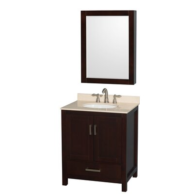 Sheffield 30 Single Espresso Bathroom Vanity Set with Mirror Top Finish: Ivory Marble, Faucet Mount: 8 Centers