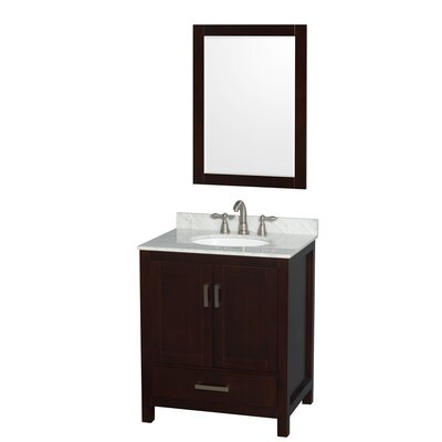 Sheffield 30 Single Espresso Bathroom Vanity Set with Mirror Faucet Mount: 8 Centers, Top Finish: White Carrera Marble
