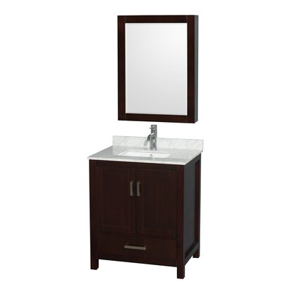 Sheffield 30 Single Espresso Bathroom Vanity Set with Medicine Cabinet Faucet Mount: 8 Centers, Top Finish: White Carrera Marble
