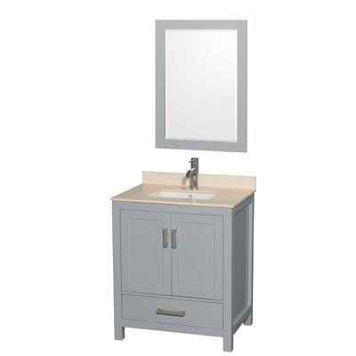 Sheffield 30 Single Gray Bathroom Vanity Set with Mirror Top Finish: Ivory Marble, Faucet Mount: Single Hole