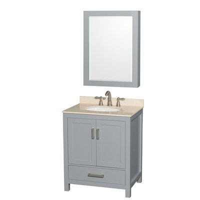 Sheffield 30 Single Gray Bathroom Vanity Set with Mirror Faucet Mount: 8 Centers, Top Finish: Ivory Marble