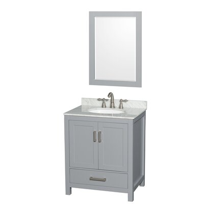 Sheffield 30 Single Gray Bathroom Vanity Set with Mirror Faucet Mount: 8 Centers, Top Finish: White Carrera Marble