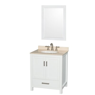 Sheffield 30 Single White Bathroom Vanity Set with Mirror Faucet Mount: 8 Centers, Top Finish: Ivory Marble