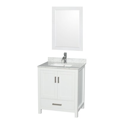 Sheffield 30 Single White Bathroom Vanity Set with Mirror Faucet Mount: Single Hole, Top Finish: White Carrera Marble