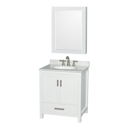 Sheffield 30 Single White Bathroom Vanity Set with Medicine Cabinet Top Finish: White Carrera Marble, Faucet Mount: Single Hole