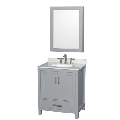 Sheffield 30 Single Gray Bathroom Vanity Set with Medicine Cabinet Top Finish: White Carrera Marble, Faucet Mount: 8 Centers