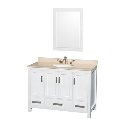 Sheffield 48 Single White Bathroom Vanity Set with Mirror Top Finish: Ivory Marble, Faucet Mount: Single Hole
