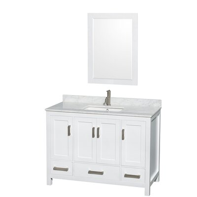 Sheffield 48 Single White Bathroom Vanity Set with Mirror Top Finish: White Carrera Marble, Faucet Mount: 8 Centers