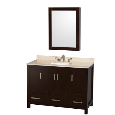 Sheffield 48 Single Espresso Bathroom Vanity Set with Medicine Cabinet Top Finish: Ivory Marble, Faucet Mount: Single Hole