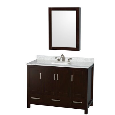 Sheffield 48 Single Espresso Bathroom Vanity Set with Medicine Cabinet Top Finish: White Carrera Marble, Faucet Mount: 8 Centers