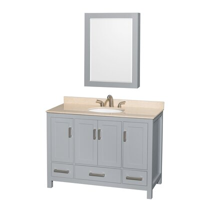 Sheffield 48 Single Gray Bathroom Vanity Set with Medicine Cabinet Top Finish: Ivory Marble, Faucet Mount: 8 Centers