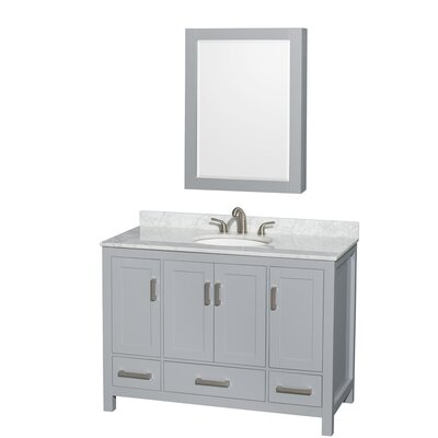 Sheffield 48 Single Gray Bathroom Vanity Set with Medicine Cabinet Top Finish: White Carrera Marble, Faucet Mount: 8 Centers