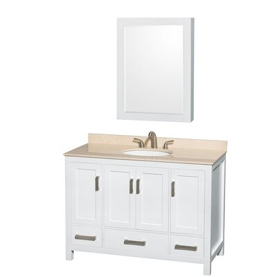 Sheffield 48 Single White Bathroom Vanity Set with Medicine Cabinet Top Finish: Ivory Marble, Faucet Mount: 8 Centers