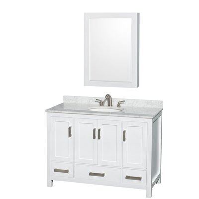 Sheffield 48 Single White Bathroom Vanity Set with Medicine Cabinet Top Finish: White Carrera Marble, Faucet Mount: 8 Centers