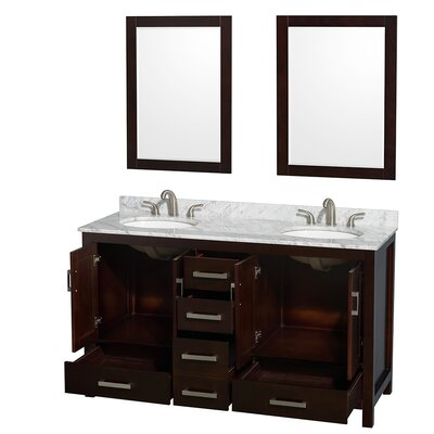 Sheffield 60 Double Espresso Bathroom Vanity Set with Mirror Top Finish: White Carrera Marble, Faucet Mount: 8 Centers