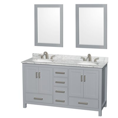 Sheffield 60 Double Gray Bathroom Vanity Set with Mirror Top Finish: White Carrera Marble, Faucet Mount: Single Hole