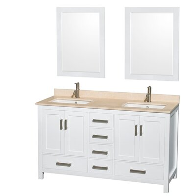 Sheffield 60 Double White Bathroom Vanity Set with Mirror Top Finish: Ivory Marble, Faucet Mount: Single Hole