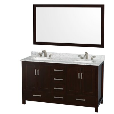 Sheffield 60 Double Espresso Bathroom Vanity Set with Mirror Top Finish: White Carrera Marble, Faucet Mount: Single Hole