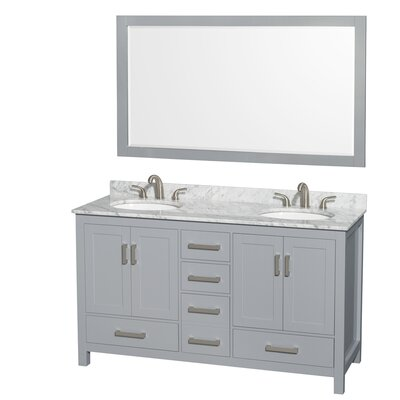 Sheffield 60 Double Gray Bathroom Vanity Set with Mirror Top Finish: White Carrera Marble, Faucet Mount: 8 Centers