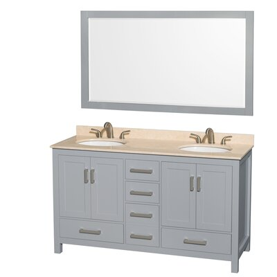 Sheffield 60 Double Gray Bathroom Vanity Set with Mirror Top Finish: Ivory Marble, Faucet Mount: Single Hole
