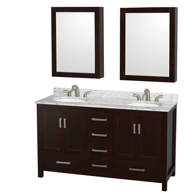 Sheffield 60 Double Espresso Bathroom Vanity Set with Medicine Cabinet Top Finish: White Carrera Marble, Faucet Mount: Single Hole