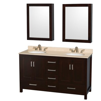 Sheffield 60 Double Espresso Bathroom Vanity Set with Medicine Cabinet Top Finish: Ivory Marble, Faucet Mount: 8 Centers