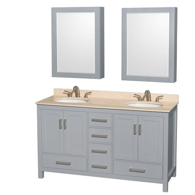Sheffield 60 Double Gray Bathroom Vanity Set with Medicine Cabinet Top Finish: Ivory Marble, Faucet Mount: Single Hole
