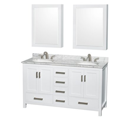 Sheffield 60 Double White Bathroom Vanity Set with Medicine Cabinet Top Finish: White Carrera Marble, Faucet Mount: 8 Centers