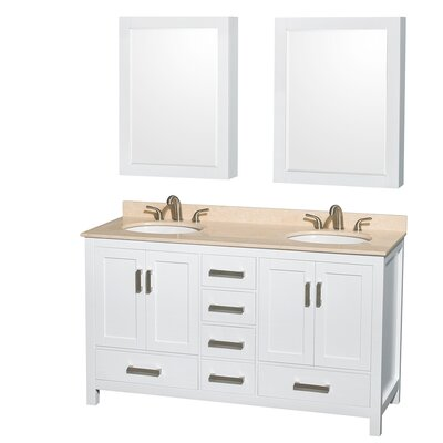 Sheffield 60 Double White Bathroom Vanity Set with Medicine Cabinet Top Finish: Ivory Marble, Faucet Mount: 8 Centers