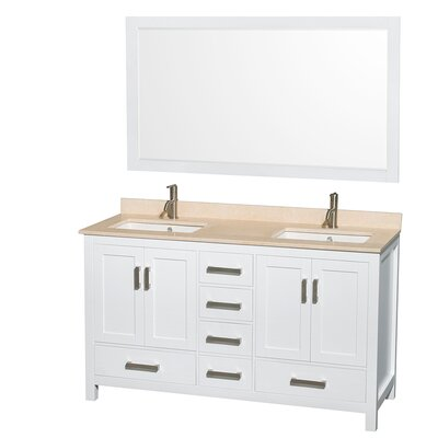 Sheffield 60 Double White Bathroom Vanity Set with Mirror Top Finish: Ivory Marble