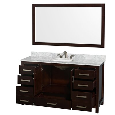 Sheffield 60 Single Espresso Bathroom Vanity Set with Mirror Top Finish: White Carrera Marble, Faucet Mount: 8 Centers