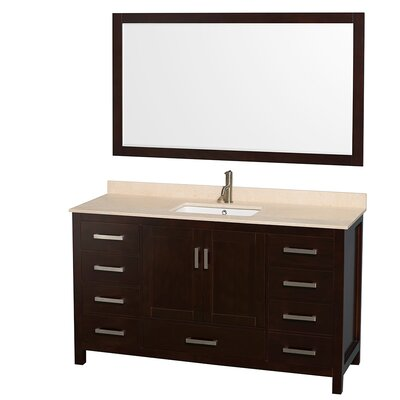 Sheffield 60 Single Espresso Bathroom Vanity Set with Mirror Top Finish: Ivory Marble, Faucet Mount: 8 Centers