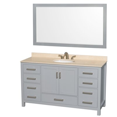Sheffield 60 Single Gray Bathroom Vanity Set with Mirror Top Finish: Ivory Marble, Faucet Mount: Single Hole