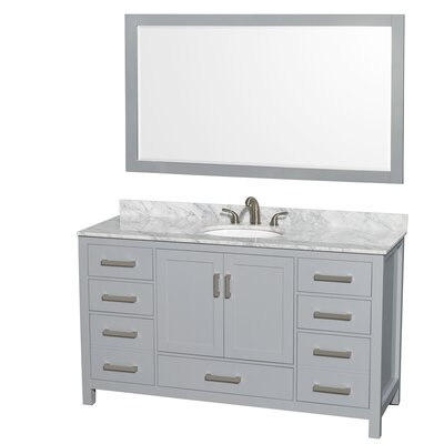 Sheffield 60 Single Gray Bathroom Vanity Set with Mirror Top Finish: White Carrera Marble, Faucet Mount: 8 Centers
