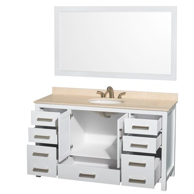 Sheffield 60 Single White Bathroom Vanity Set with Mirror Top Finish: Ivory Marble, Faucet Mount: 8 Centers