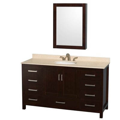 Sheffield 60 Single Espresso Bathroom Vanity Set with Medicine Cabinet Top Finish: Ivory Marble, Faucet Mount: 8 Centers
