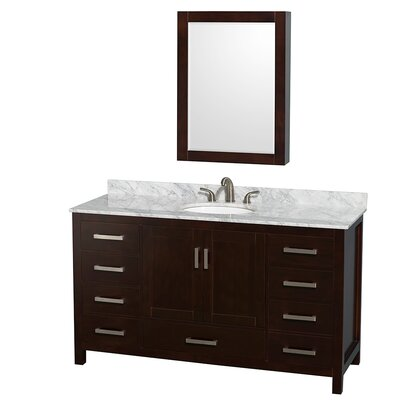 Sheffield 60 Single Espresso Bathroom Vanity Set with Medicine Cabinet Top Finish: White Carrera Marble, Faucet Mount: 8 Centers