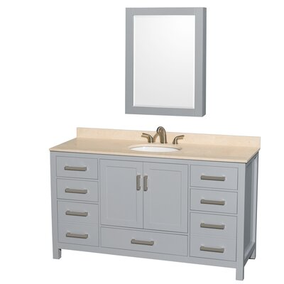 Sheffield 60 Single Gray Bathroom Vanity Set with Medicine Cabinet Top Finish: Ivory Marble, Faucet Mount: 8 Centers