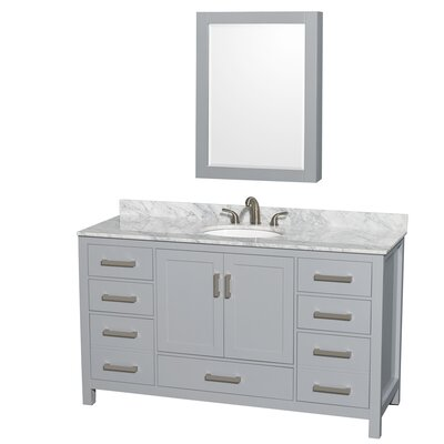 Sheffield 60 Single Gray Bathroom Vanity Set with Medicine Cabinet Top Finish: White Carrera Marble, Faucet Mount: Single Hole