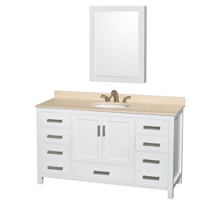 Sheffield 60 Single White Bathroom Vanity Set with Medicine Cabinet Top Finish: Ivory Marble, Faucet Mount: 8 Centers