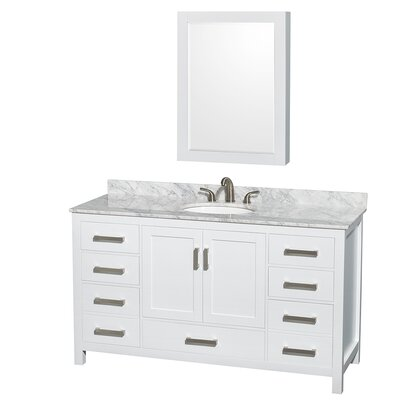 Sheffield 60 Single White Bathroom Vanity Set with Medicine Cabinet Top Finish: White Carrera Marble, Faucet Mount: 8 Centers